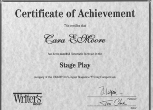 Writer's Digest Honorable Mention Stage Play Award